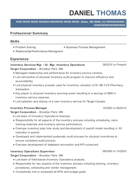 Inventory Services Mgr resume format Minnesota