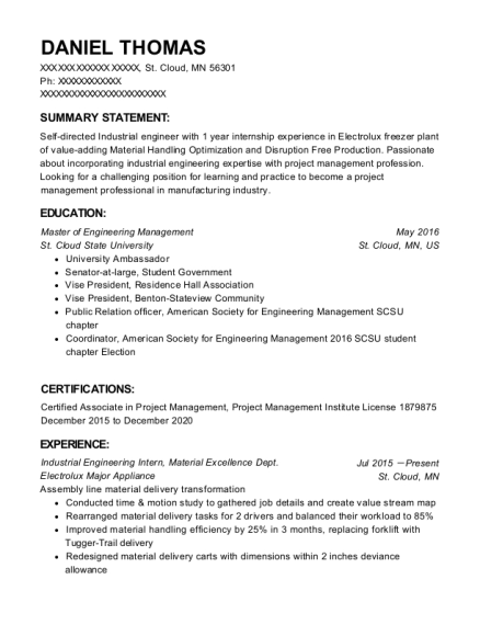 Student Boston Architectural College Industrial Engineer Resume