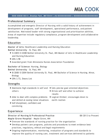 Director of Nursing & Professional Practice resume format Minnesota