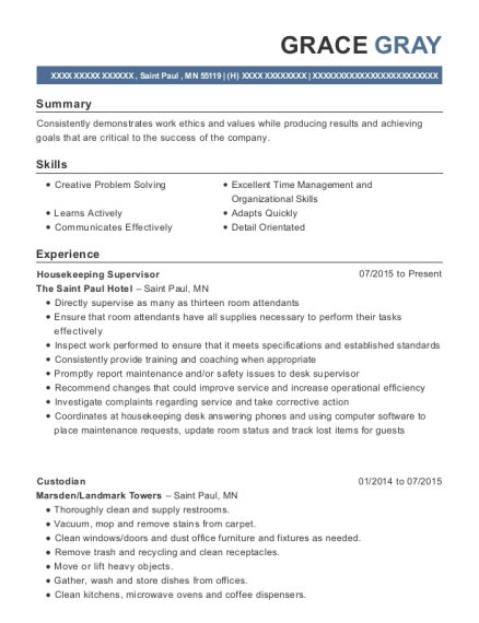 Housekeeping Supervisor resume format Minnesota