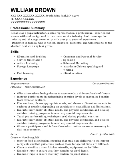Yoga Instructor resume example Minnesota