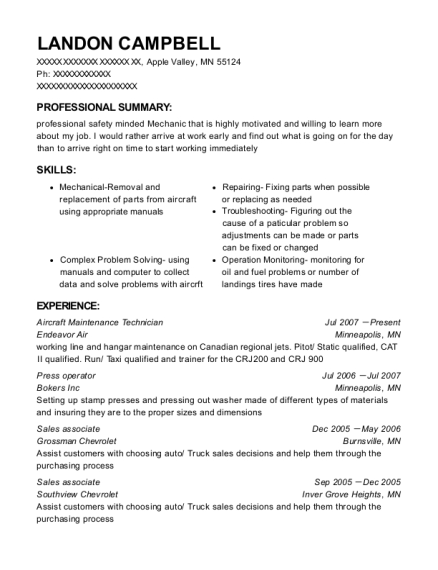 Aircraft Maintenance Technician resume example Minnesota
