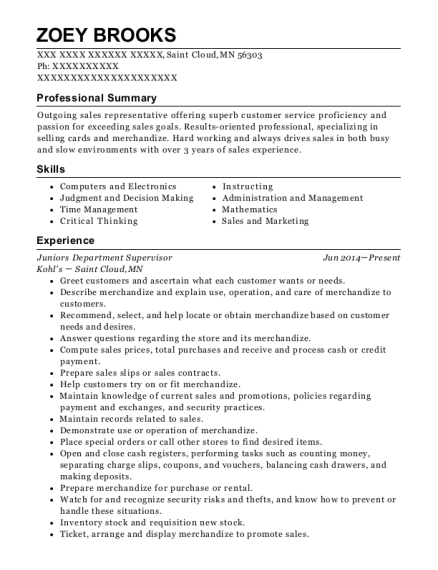 Juniors Department Supervisor resume example Minnesota