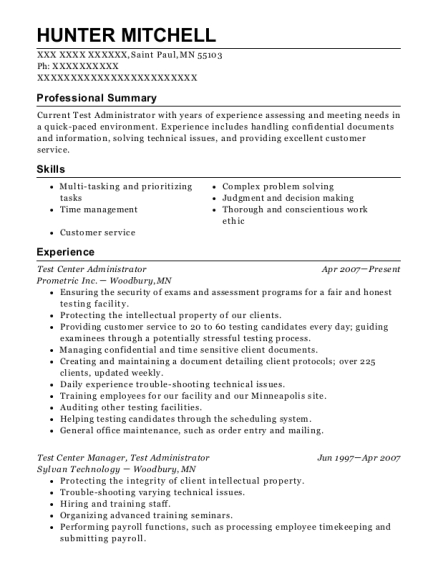 Test Center Administrator resume template Minnesota
