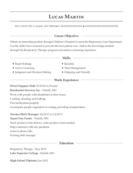 Direct Support Staff resume example Minnesota
