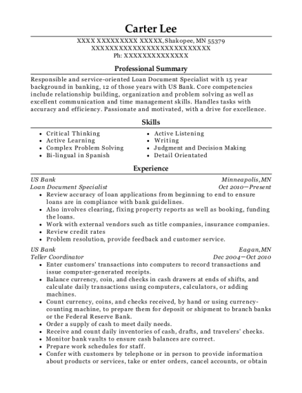 Loan Document Specialist resume example Minnesota