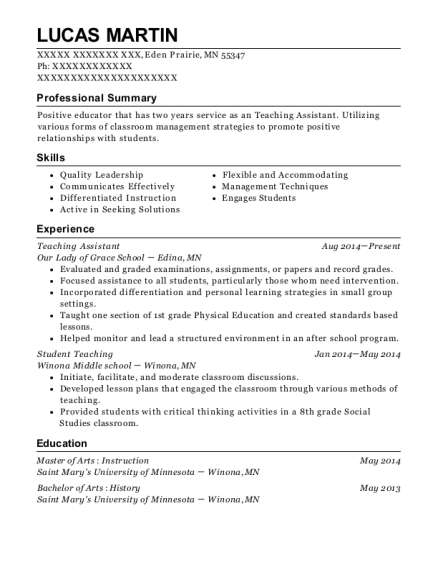 Teaching Assistant resume format Minnesota