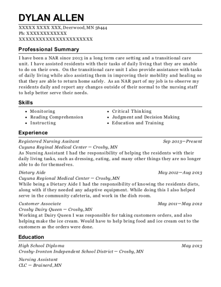 Registered Nursing Assitant resume sample Minnesota