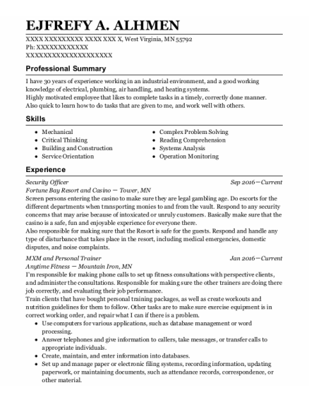 MXM and Personal Trainer resume sample Minnesota