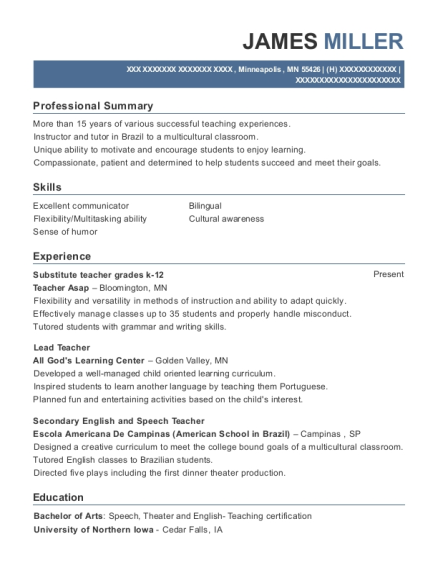 Substitute teacher grades k 12 resume sample Minnesota