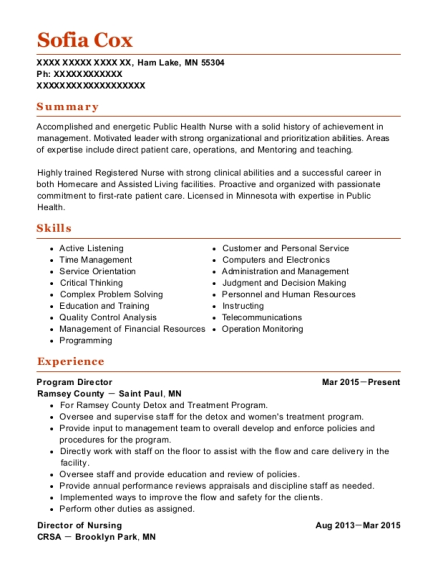 Program Director resume sample Minnesota