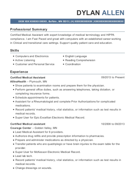 Certified Medical Assistant resume example Minnesota