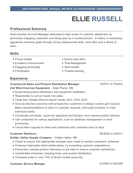 Commercial Sales and Product Distribution Manager resume example Minnesota
