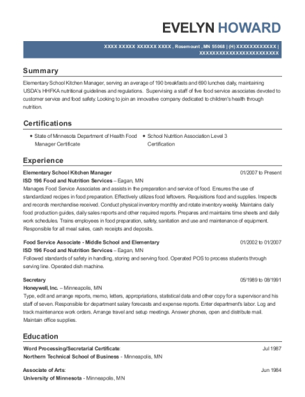 Elementary School Kitchen Manager resume template Minnesota