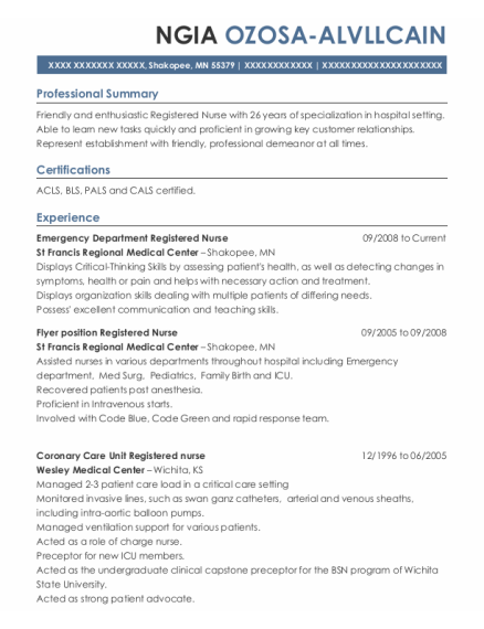 Emergency Department Registered Nurse resume example Minnesota