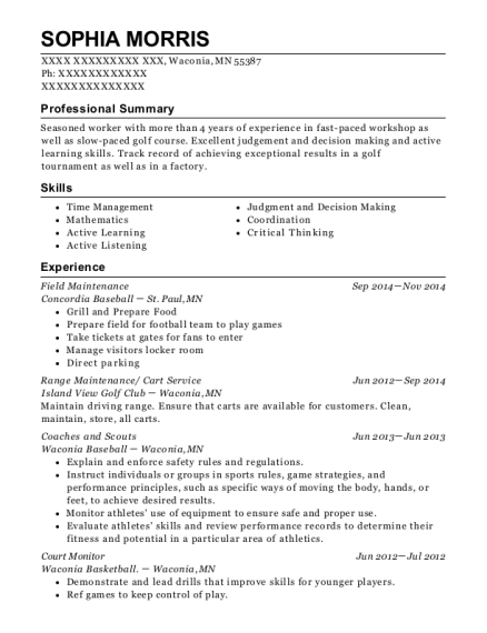 Field Maintenance resume sample Minnesota