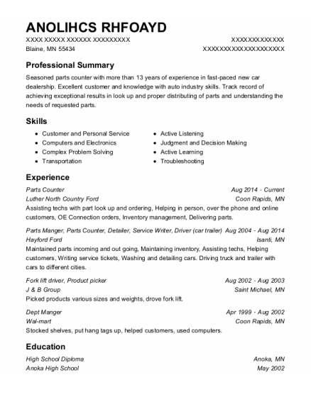 Parts Counter resume format Minnesota