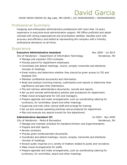 Executive Administrative Assistant resume example Minnesota