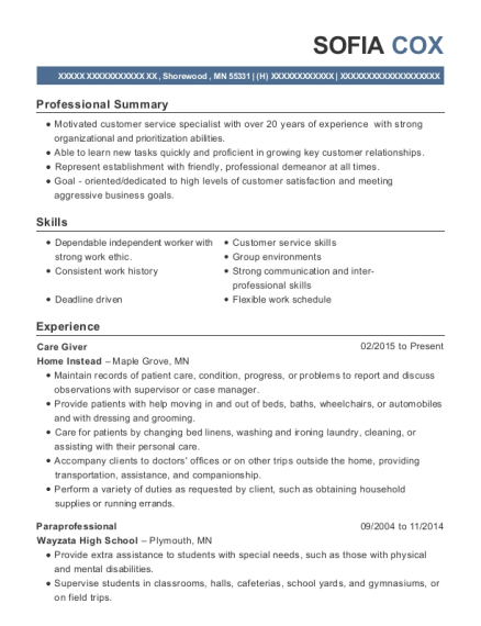 Care Giver resume sample Minnesota