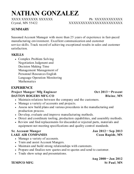 Project Manger resume sample Minnesota