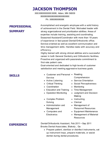 Dental resume example Minnesota