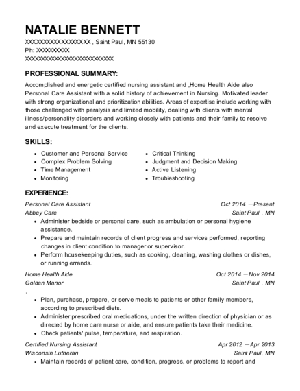Personal Care Assistant resume format Minnesota