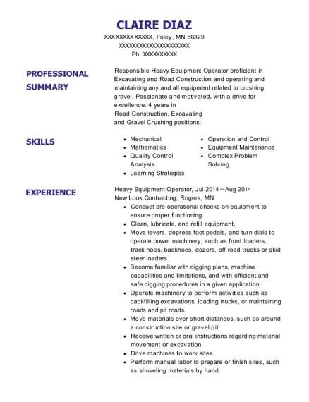 Heavy Equipment Operator resume template Minnesota