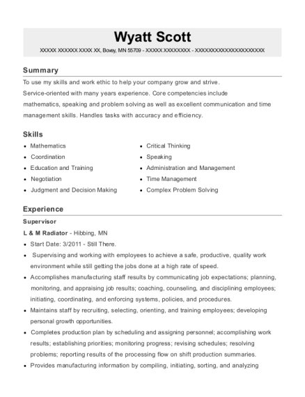 Supervisor resume sample Minnesota