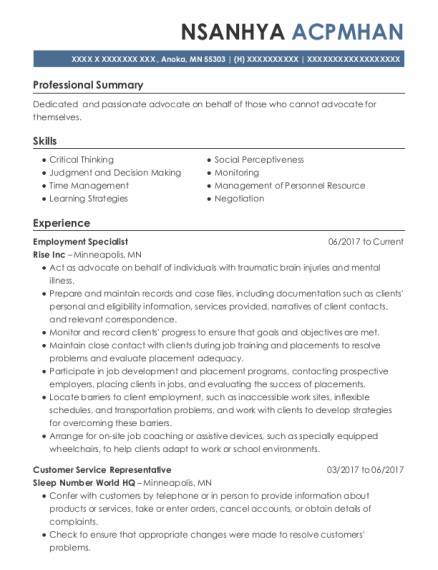 Employment Specialist resume sample Minnesota