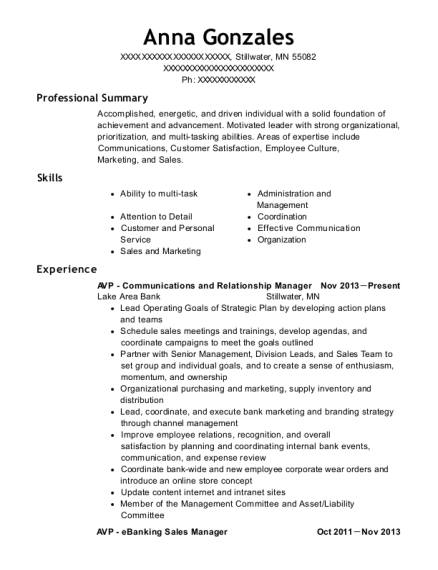 AVP Communications and Relationship Manager resume format Minnesota