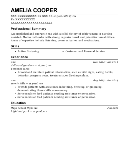 cna resume example Minnesota