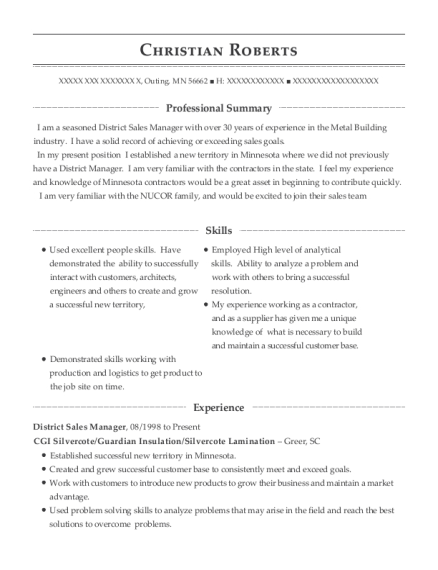 District Sales Manager resume example Minnesota