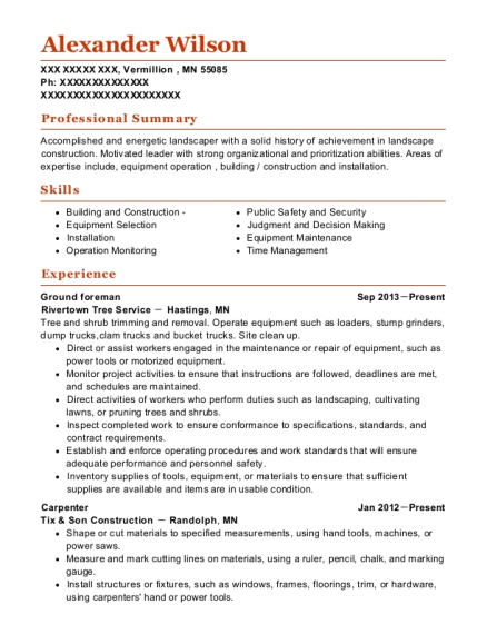 Ground foreman resume example Minnesota