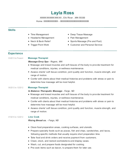 Massage Therapist resume example Minnesota