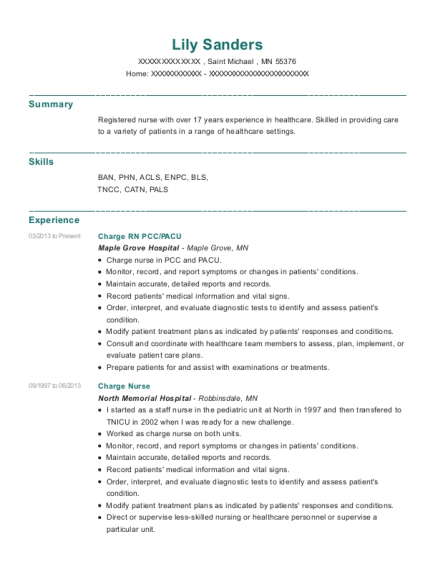 Charge RN PCC resume example Minnesota