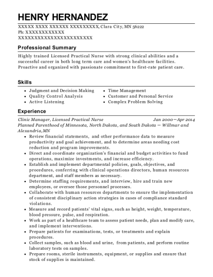 Clinic Manager resume example Minnesota