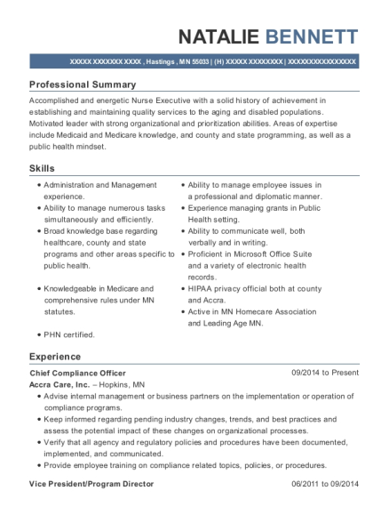 Chief Compliance Officer resume template Minnesota