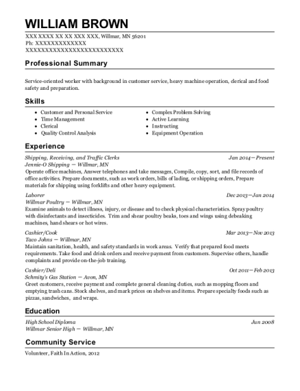 Shipping resume example Minnesota