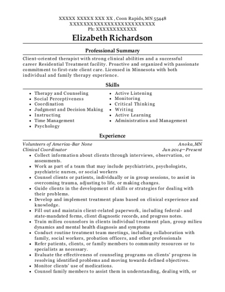 Clinical Coordinator resume example Minnesota