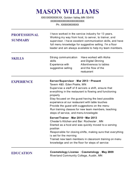 Server resume sample Minnesota