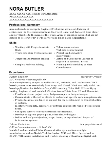 System Engineer resume example Minnesota