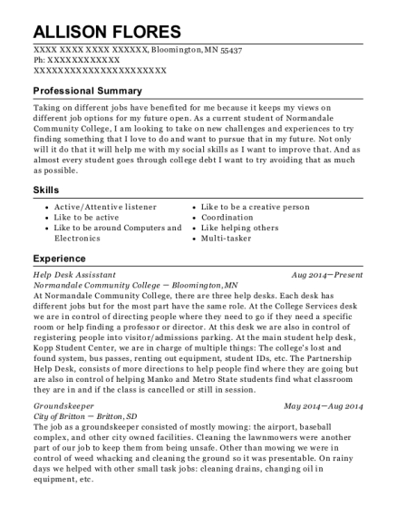 Help Desk Assisstant resume template Minnesota