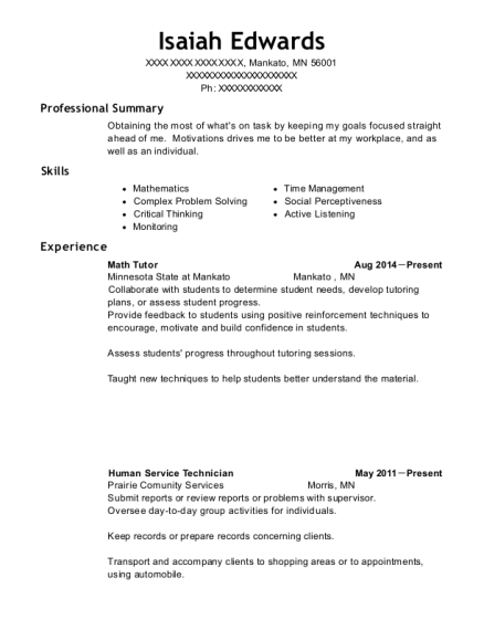 Math Tutor resume example Minnesota