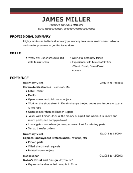 Inventory Clerk resume example Minnesota