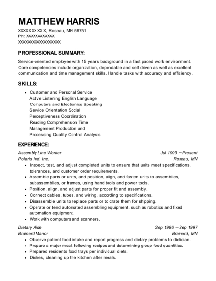 Assembly Line Worker resume sample Minnesota