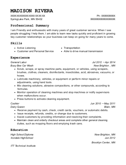General Labor resume sample Minnesota