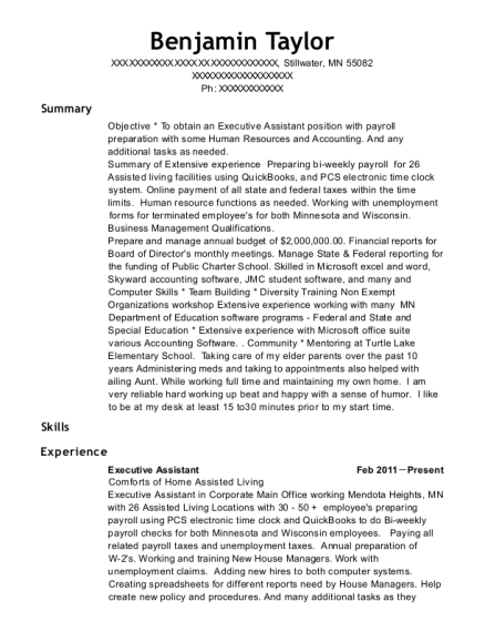 Executive Assistant resume format Minnesota