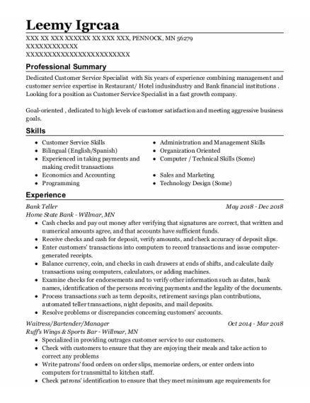 Bank Teller resume format Minnesota