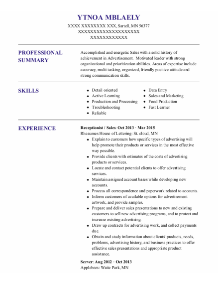 Receptionist resume example Minnesota