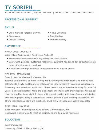 Sales resume example Minnesota
